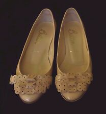 Butter Tan or Nude Patent Leather Ballet Flats, Size 5