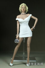 "1/6 Marilyn Monroe Short White Dress Mini Skirt F 12"" Large Bust Lady Figure Toy"