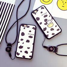 Milk Cow Couple Multi-Use Cover Case with Wearable Necklace For iPhone 6/6s