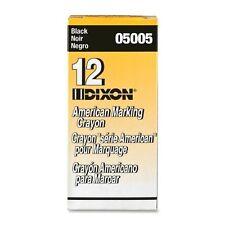 "Dixon Long-lasting Marking Crayon - 5"" X 0.56"" Crayon Size - Black Wax - 12 /"