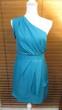 BCBGeneration Women's One Shoulder Teal Blue Tiered Asymmetrical Dress Size 6