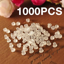 1000pcs x Clear Soft Rubber Earrings Back Stopper Findings Ear Studs Nuts Plugs