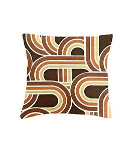 "Vintage 70's Geometric Orange Brown fabric cushion cover 16"" 18"" Retro"