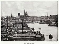 Hull from the Docks, Yorkshire, 1893 antique print in 11 x 14 mount SUPERB