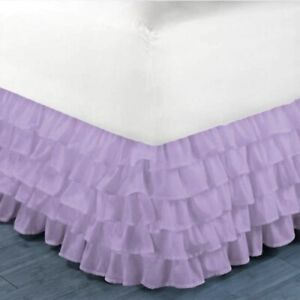 """PLEATED Dust Ruffle Bed Skirt Bedding Bed Dressing Easy Fit Open Corners 14""""Drop"""