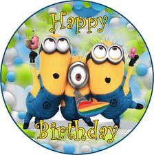 Minions Deco Gateau Disque Azyme Comestible Happy Birthday Anniversaire 20cm