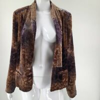 Sundance Womens Open Front Blazer Brown Floral Embossed Pockets Long Sleeve 6