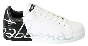 DOLCE & GABBANA Shoes Sneakers White Black Leather Logo Print Mens EU43 / US10