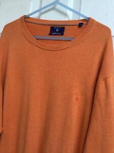 "GANT UK/XL 48"" Ch. Mens Burnt Orange 100% Cotton Knit Crew Neck Jumper"