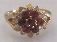 Vintage 9ct yellow gold multi round garnet round flower cluster ring size O