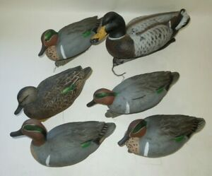Lot of 6 Floating Green Head Gear Mallard Decoys for Hunting