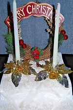 Christmas Elegance: Table runner, poinsettia candle holders, wreath - Xm577