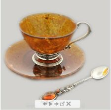 A 100% handmade unique cup made of amber and bronze!