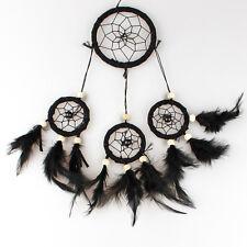 Pure Black Feather Medium Indian Style Dream Catcher Handmade Hanging Decoration
