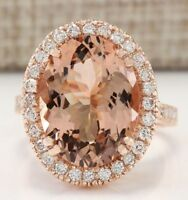 18K Rose Gold Filled Morganite Wedding Engagement Ring Silver Jewelry Size 5-12