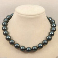 stunning 12-11 mm tahitian black green round pearl necklace 18 inch 14 k gold