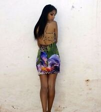Summer Beach Sexy Floral Print Cocktail Jewelled Beaded open Back Casual dress M