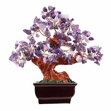 Feng Shui Natural Amethyst Quartz Gem Stone Money Tree 7 Inch Purple Crystal