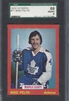 1973 Topps hockey card #71 Mike Pelyk Toronto Maple Leafs graded SGC 88 NMMT 8