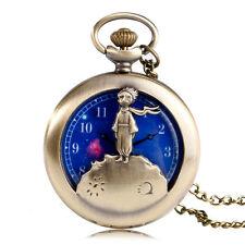 Le Petit Prince Blue Space Dial Pocket Watch Vintage Bronze Planet Necklace Gift