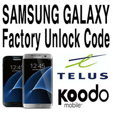 Unlock Code Telus Koodo Samsung Galaxy S8 S7 S6 S5 S4 Plus Edge Note 5 4 Alpha