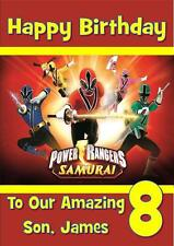 POWER RANGERS SAMURAI PERSONALISED A5 BIRTHDAY CARD WITH COLOURING PICTURE