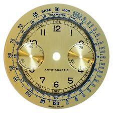 Orig Vintage Landeron L48 Chronograph / Chrono 33mm Wristwatch Dial, Swiss 1940s