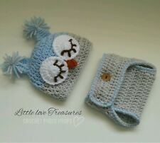 NEW Newborn Baby Boy Owl Hat and Diaper Cover Crochet Infant Photo Prop