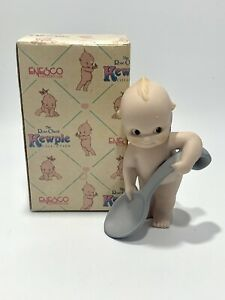 """Bisque Rose O'Neill Kewpie Doll with Spoon and Original Box 4"""" 1992"""