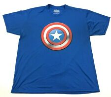 MARVEL Captain America Shirt Size Extra Large XL Blue Tee Short Sleeve Dry Fit
