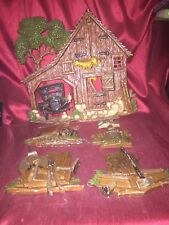 Homco 1976 Homestead Lot 5 Piece Set Barn Mailbox Whetstone Axe Handcart Vintage