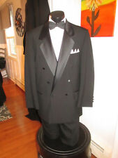 MENS VINTAGE BLACK DOUBLE BREASTED PEAK LAPEL TUXEDO OSCAR DE LA RENTA 50L 4PCS