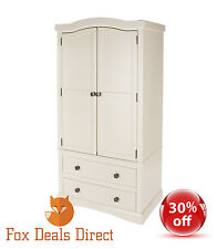 Wardrobe Cream Painted 2 Door 2 Drawer French Country Wooden Bedroom Furniture