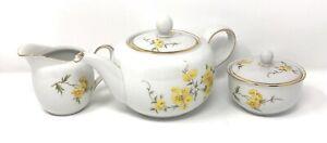 Vintage HUTSCHENREUTHER SELB LHS BAVARIA GERMANY, Teapot, Creamer & Sugar Bowl