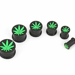 14mm Black Silicone Ear Plug + Weed Leaf, Pot, Cannabis ~ Stretched Piercing