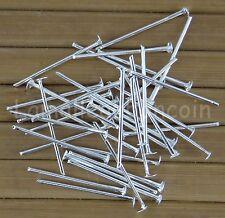 100 TIGES CLOUS TÊTE PLATE 20 mm en métal couleur argenté perle,fimo,-ttp201