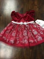 NWT Jona Michelle Baby Girl's 2 Piece Dress With Diaper Cover - RED - 6M / 12M