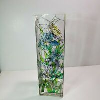 Joan Baker Design Hand Painted Stained Glass Style Vase: Butterfly Pattern - 10""
