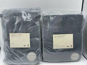 "New West Elm Cotton Velvet Drapes 48"" x 108"" ~Stormy Blue~ Set of 2"