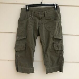 Kuhl Womens Cargo Roll Up Hiking Capri Pants Shorts Sz 2 Green