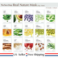 The Face Shop Real Nature Face Mask 15 sheets (15 Treatments) + Free Sample