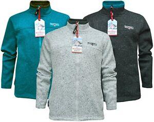Mens Anti Pill Polar Fleece Jacket Plain Melange Full Zip Casual Ex Store S-3XL