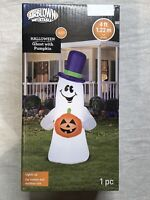 Ghost with Pumpkin Halloween Airblown Inflatable GEMMY 4ft Porch Greeter 2020