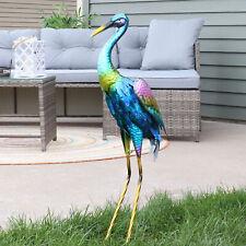 Sunnydaze Metal Crane Yard Art Sculpture - Outdoor Garden Statue Decor 29-Inch