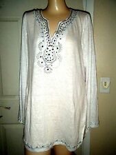 INC WHITE LONG SLEEVE Y-NECK EMBELLISHED TOP SIZE XL