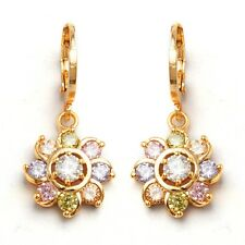 Lady Hoop Drop Earrings Small Round Cubic Zircon Gold Plated Festival Jewelry
