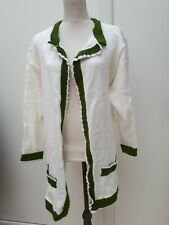 Unbranded Ladies Size 18 20 White Green  Hand Knit Cardigan Autumn Curve Fashion