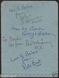 THE BEATLES Signed Early Note - John Lennon / Paul McCartney etc - preprint