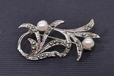 Marcasite and Pearl Brooch