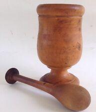 Antique Primitive Mortar and Pestle URN SHAPE on pedestal OLD original PATINA